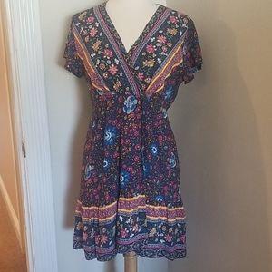 Boho floral mock wrap dress